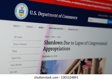 SARANSK, RUSSIA - JANUARY 25, 2019: A computer screen shows details of Blog page on U.S. Department of Commerce web site