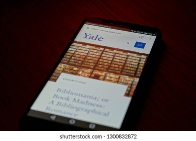 SARANSK, RUSSIA - JANUARY 31, 2019: A smartphone screen shows details of Yale University page on it's web site.