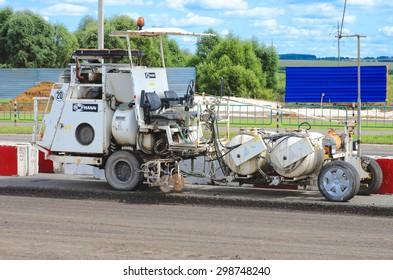Saransk, Russia - July 19: Hofmann road marking machine, on July 19th 2015 in Saransk.