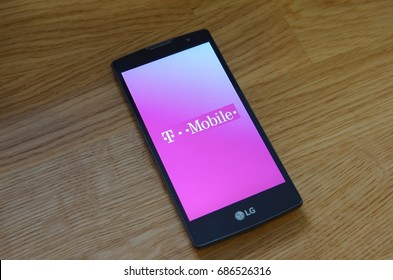 Saransk, Russia - July 23, 2017: A Smartphone screen shows logo of T-Mobile.