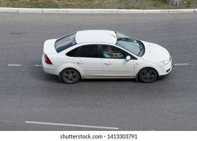 SARANSK, RUSSIA - JUNE 01, 2019: Ford Focus on city road.
