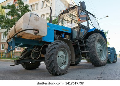 SARANSK, RUSSIA - JUNE 08, 2019: MTZ tractor on city road.