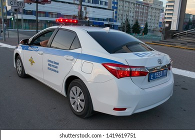 SARANSK, RUSSIA - JUNE 08, 2019: Russian traffic police car Toyota Corolla on city road.
