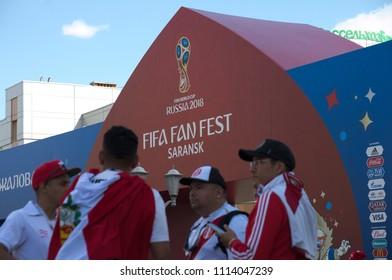 SARANSK, RUSSIA - JUNE 16, 2018: Peruvian football fans before football match between Peru vs. Denmark near FIFA FAN FEST entrance.