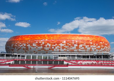 SARANSK, RUSSIA - JUNE 16, 2018: Mordovia Arena before football match between Peru vs. Denmark.