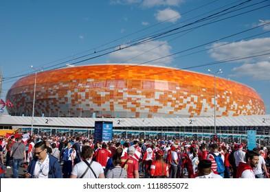 SARANSK, RUSSIA - JUNE 16, 2018: Peruvian football fans near Mordovia Arena.