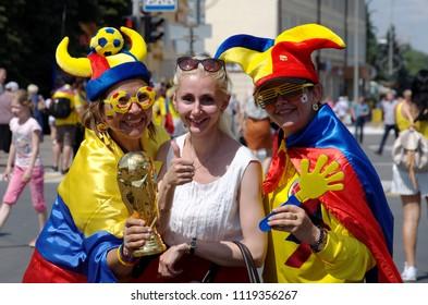 SARANSK, RUSSIA - JUNE 19, 2018: Football fans before football match between Columbia vs. Japan.