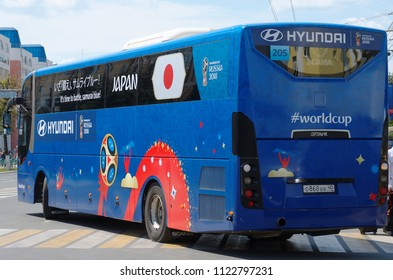 SARANSK, RUSSIA - JUNE 19, 2018:  Japan National Football team bus arrives for their game against Colombia national football team as part of the World Cup 2018.
