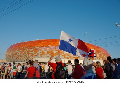 SARANSK, RUSSIA - JUNE 28, 2018: Panamanian flag in front of the Mordovia Arena.