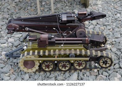 SARANSK, RUSSIA - JUNE 30, 2018: Unmanned ground vehicle close-up.