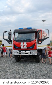 SARANSK, RUSSIA - JUNE 30, 2018: Fire rescue vehicle on base Iveco EUROCARGO 150-208.