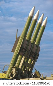 SARANSK, RUSSIA - JUNE 30, 2018: Surface-to-air missiles on the Buk quadruple launcher.
