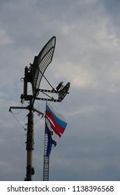 SARANSK, RUSSIA - JUNE 30, 2018: Surveillance antenna, the Russian flag visible on the background.