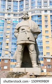 Saransk, Russia - June 6, 2019 - Statue of an ataman of the Yaik Cossacks, Yemelyan Pugachev in Saransk