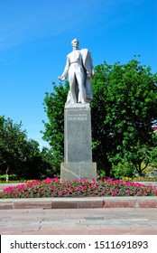 """Saransk, Russia - June 6, 2019 - Statue of controversial Russian poet and author of satirical poem """"Sashka"""", Alexander Polezhayev in Saransk"""