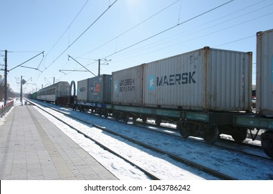 SARANSK, RUSSIA - MARCH 10, 2018: Freight train carrying containers through Saransk.