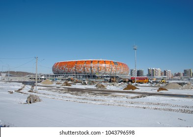 SARANSK, RUSSIA - MARCH 10, 2018: Mordovia Arena football stadium under construction.