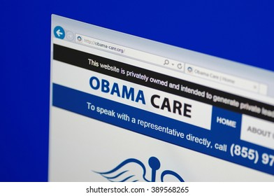 SARANSK, RUSSIA - MARCH 12, 2016: A computer screen shows details of Obama Care main page on its web site.