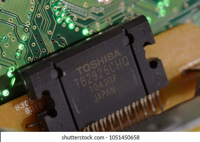 SARANSK, RUSSIA - MARCH 21, 2018: Toshiba chip on circuit board.