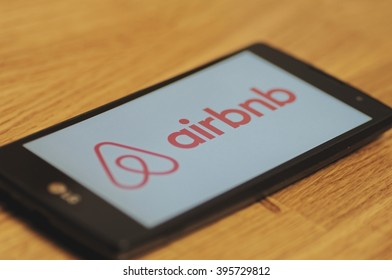 SARANSK, RUSSIA - March 23, 2016: Photo of LG Smartphone with Airbnb logotype on the screen. Selective focus.