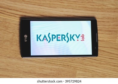 SARANSK, RUSSIA - March 23, 2016: Photo of LG Smartphone with Kaspersky Lab logotype on the screen. Selective focus.