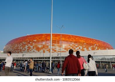 SARANSK, RUSSIA - MAY 04, 2018: Mordovia Arena football stadium.