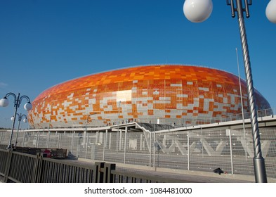 SARANSK, RUSSIA - MAY 04, 2018: Mordovia Arena stadium before match between Mordovia and KamAZ. Photo taken on sunset time.