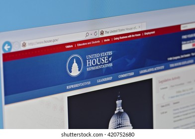 SARANSK, RUSSIA - MAY 15, 2016: A computer screen shows details of The United States House of Representatives main page on its web site.