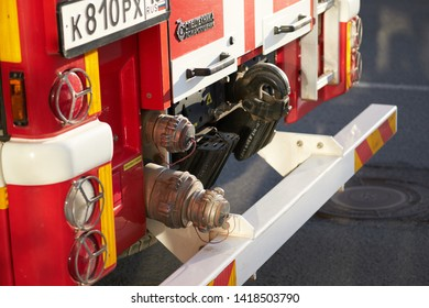 SARANSK, RUSSIA - MAY 17, 2019: A pintle hook on fire engine.