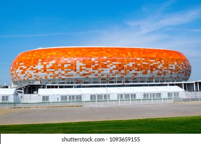 "SARANSK, RUSSIA - MAY 18, 2018: Stadium ""Mordovia Arena"" has been selected for the 2018 FIFA World Cup"