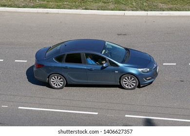 SARANSK, RUSSIA - MAY 18, 2019: Opel Astra J on city road.