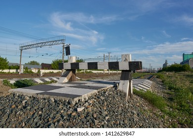 SARANSK, RUSSIA - MAY 25, 2019: Dead end railway track.