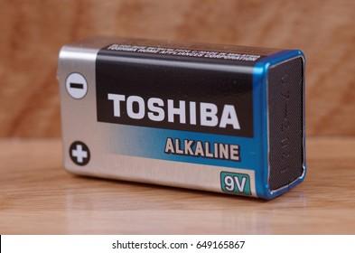 SARANSK, RUSSIA - MAY 28, 2017: Toshiba alkaline nine-volt battery.