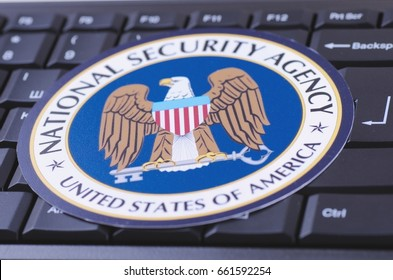 SARANSK, RUSSIA - MAY 28, 2017: National Security Agency NSA seal on keyboard.