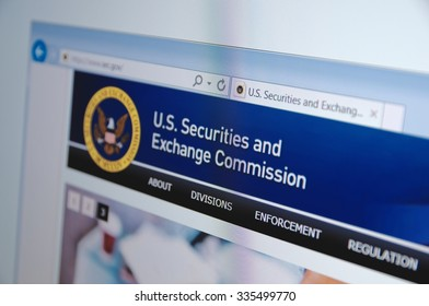 SARANSK, RUSSIA - November 04, 2015: A computer screen shows details of SEC (U.S. Securities and Exchange Commission) main page on its web site. Selective focus.