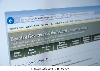 SARANSK, RUSSIA - NOVEMBER 04, 2015: A computer screen shows details of Federal Reserve System main page on its web site.