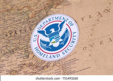 SARANSK, RUSSIA - NOVEMBER 05, 2017: The seal of the U.S. Department of Homeland Security with world map.