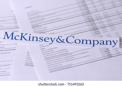 SARANSK, RUSSIA - NOVEMBER 05, 2017: The McKinsey & Company logo with financial reports.