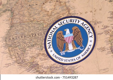 SARANSK, RUSSIA - NOVEMBER 05, 2017: The Seal of the National Security Agency with world map.