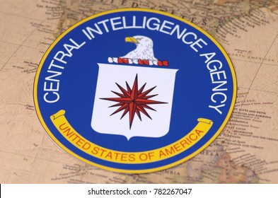 SARANSK, RUSSIA - NOVEMBER 05, 2017: Seal of the Central Intelligence Agency on world map.
