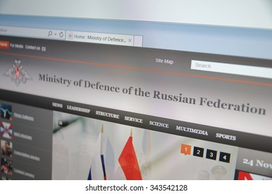 Saransk, Russia - November 24, 2015: A computer screen shows details of Ministry of Defence of the Russian Federation main page on its web site.