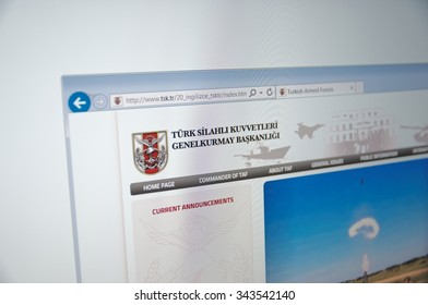 Saransk, Russia - November 24, 2015: A computer screen shows details of Turkish Armed Forces main page on its web site.