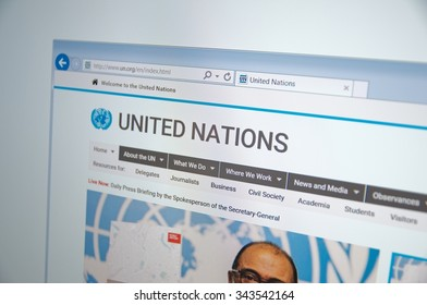 Saransk, Russia - November 24, 2015: A computer screen shows details of United Nations main page on its web site. Selective focus.