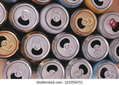 SARANSK, RUSSIA - OCTOBER 26, 2018: Set of empty aluminium cans.