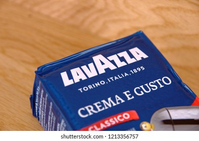 SARANSK, RUSSIA - OCTOBER 26, 2018: Pack of Lavazza coffee  on wooden background.