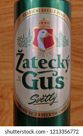 SARANSK, RUSSIA - OCTOBER 26, 2018: Can of Zatecky Gus on wooden background.
