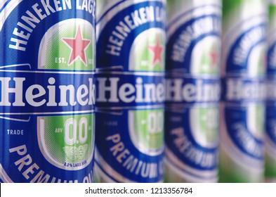 SARANSK, RUSSIA - OCTOBER 26, 2018: A row of Heineken Alcohol Free cans.
