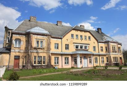 SARANSKOYE, KALININGRAD OBLAST / RUSSIA - APRIL 26 2016: Lauken castle in the Kaliningrad oblast