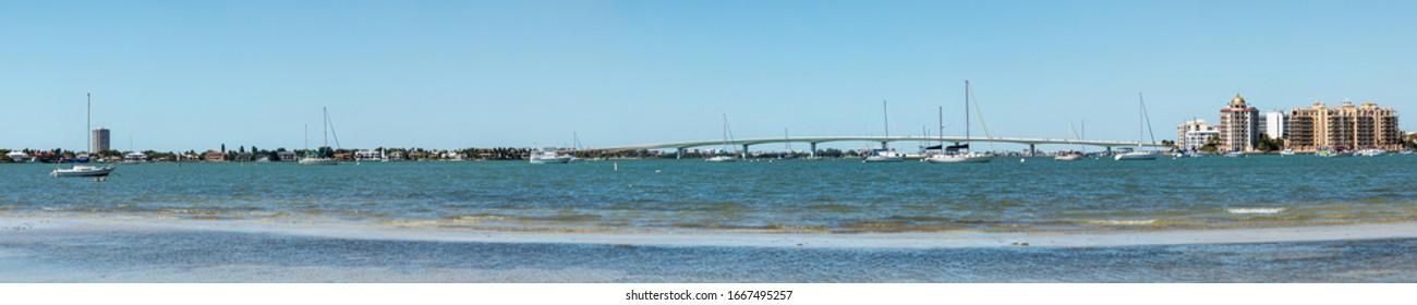 Sarasota Bay with the John Ringling Causeway bridge in the background in Sarasota, Florida