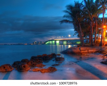 Sarasota Bay and the Ringling bridge connecting Sarasota, Florida to Lido Key. Photo is just before sunrise.